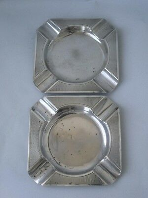 Pair of Solid Sterling Silver Ash Trays 1931/ :L 9.3 cm/ 93 g