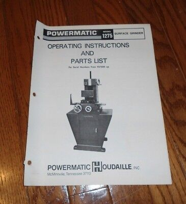 Vintage Powermatic #1275 Surface Grinder Operating Instructions & Parts List