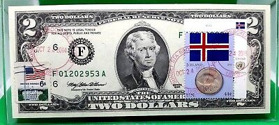 Money Us $2 Dollars 1995 Federal Reserve Note Atlanta Flag Of Iceland Coin