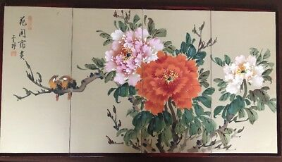 Oriental Japanese Chinese Silk Folding Screen 4 Panels Wall Decor Art Vintage