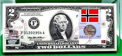 Money Us $2 Dollars 1995 Federal Reserve Note Atlanta Norway Flag Of Norway Coin