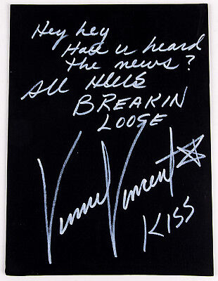 KISS VINNIE VINCENT AUTOGRAPH, Signature 9 x 12 All Hell's Breaking Loose, 15/50