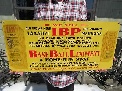 VINTAGE ORIGINAL 1920's IBP LAXATIVE & BASEBALL LINIMENT PORCELAIN SIGN 12 X 26