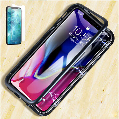 Magnetic Adsorption Metal Case For iPhone Xs Max/ 78 Luxury Tempered Glass Cover