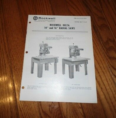 Rockwell Delta Radial Saw Operating Instructions & Parts List Booklet - 1969