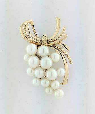 Vintage Mikimoto Signed 14k Yellow Gold Cultured Pearl Cluster Grapevine Brooch