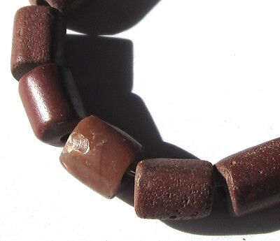 15 Rare Stunning Ancient Mixed Brick Red Stone/Agate Cylinder Beads