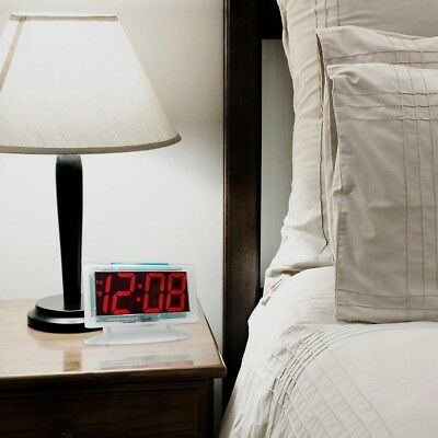 Alarm Clock Table Red LED Digital Large Numbers Electric Clear Jumbo Display