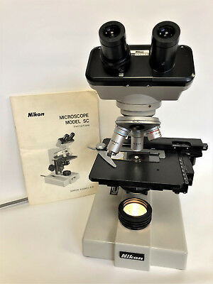 Nikon Binocular SC Microscope 4x 10x 40x 100x with mechanical stage 240v Bulb-03