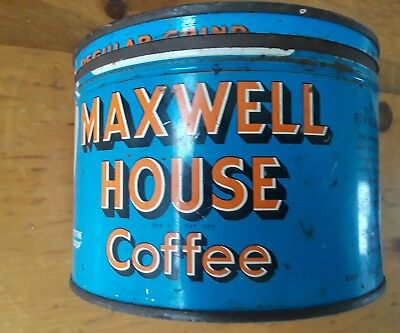 Vintage MAXWELL HOUSE Coffee Advertising Tin Can & Lid Key Wind One Pound!