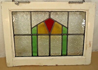 """OLD ENGLISH LEADED STAINED GLASS WINDOW  """"Geometric"""" 20.5"""" x 15"""" Original Frame"""