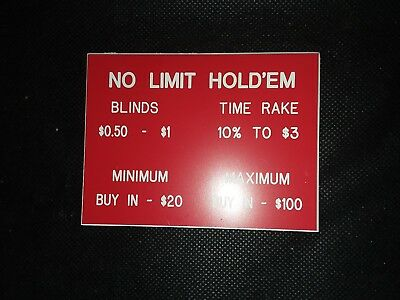 Texas Hold em Table sign