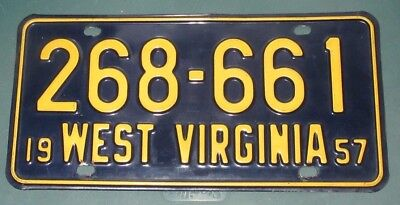 1957 West Virginia License Plates Tag    268-661---GORGEOUS