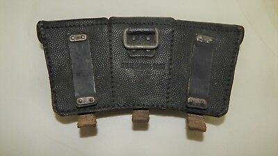 Vintage German WW2 K-98 Leather triple rifle cartridge Mauser Ammo Pouch