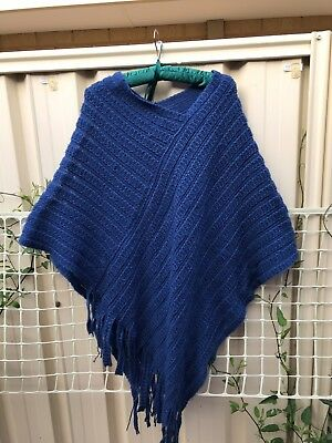 Women's Knitted poncho blue, one size,