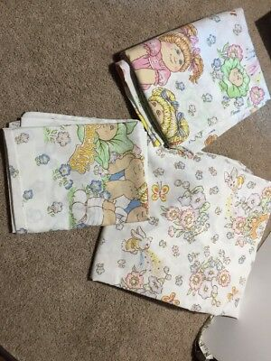 Vintage Cabbage Patch Kids 1983 Twin Fitted Flat And Pillowcase
