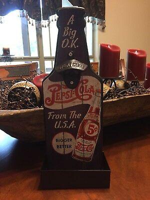 Rustic Pepsi Cola Bottle Opener Wall Mounted Pepsi Collection Man Cave Bar New