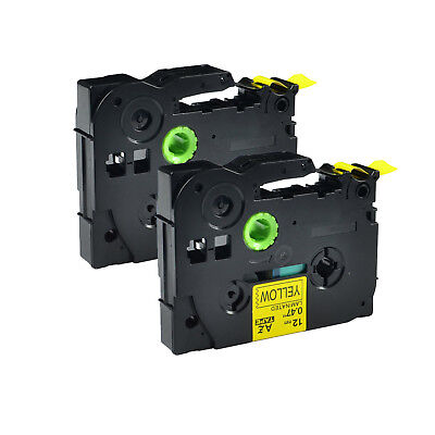 2PK TZ-631 TZe-631 Black on Yellow Label Tape For Brother P-Touch PT-530 12mmx8m