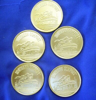 Lot Of 5 Southern Comfort Steamboat Anodized Aluminum Gold Tokens Mint!