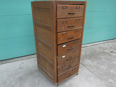 Antique Oak File 7 Drawer File Cabinet Globe Wernicke G-25 1900's