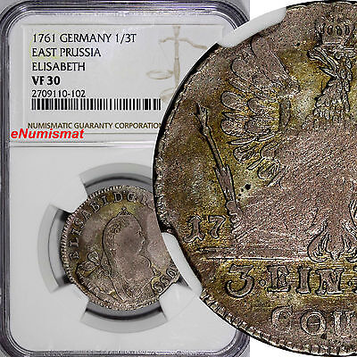 Poland Germany EAST PRUSSIA Elizabeth Silver 1761 1/3 Thaler NGC VF30 RARE C# 48