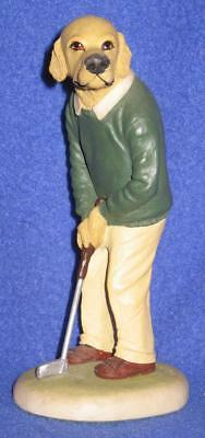 "Robert Harrop ""Doggie People"" Figurine--Golden Retriever Golfer, Putting"