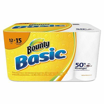Bounty Basic Paper Towels 12 Roll Pack 1-Ply 55 Perforated Sheets Cleaning New