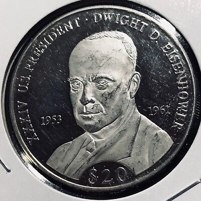 2007 Liberia $20 Eisenhower Proof Brilliant Uncirculated Crown Coin