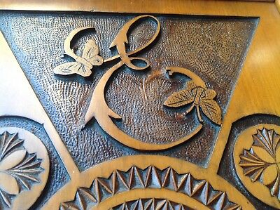 Antique Carved Wooden Tray Butterfly's initialed E M Brass handles