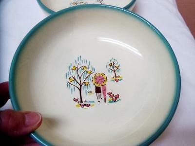 BROCK Park Scene FOREVER YOURS 2 Pc SOUP-CEREAL BOWLS Lovers USA Excellent RARE!