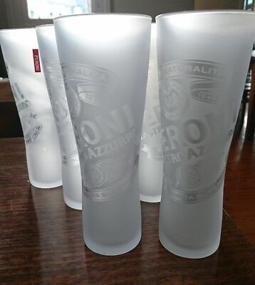 Peroni Nastro Azzurro 300Ml Frosted Beer Glasses New X6