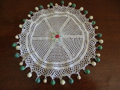 White  Crocheted Milk jug Cover- Embroidered Rose Centre