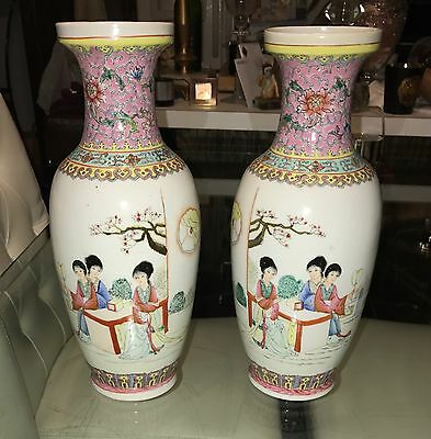 Pair Of Vintage Chinese Enameled Porcelain Vases With Stamp/Mark