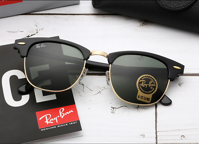 Genuine Ray-Ban Clubmaster RB3016 901/58 51mm Green Polarized Lens Black Frame