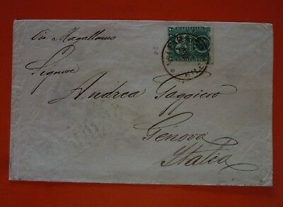 Chile 1883 Cover from Valparaiso to Italy stamped with a 20 c. - Via Magellano