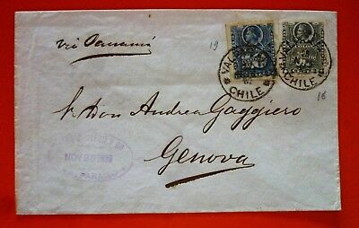 Chile 1882 Cover from Valparaiso to Italy multistamped - Interesting