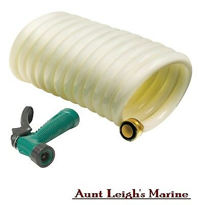Coiled Wash Down Hose Blue 15/' Brass Fittings T-H Marine WDHBR15BBDP