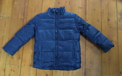 Down feather filled winter parka navy blue kids puffa jacket size 7 Urban AS NEW