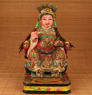 Big Chinese Old Wood Handmade Carved Taoism Queen Mother Statue
