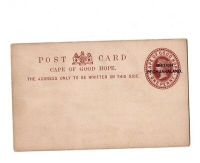 1886 Q Vic British Bechuanaland postal stationary overprinted postcard on COGH