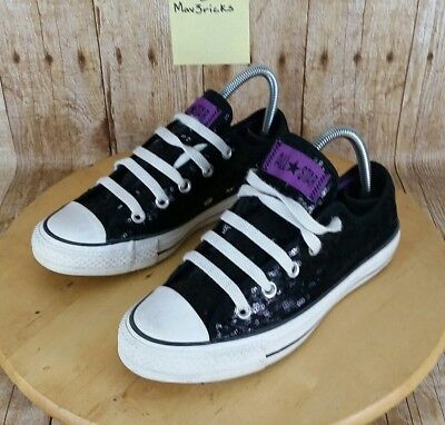Converse Chuck Taylor All Star Low Top Shoes Black/Purple Sequin Women's Size 6