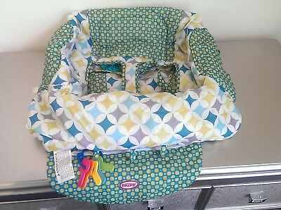 Nuby Shopping Cart Cover & High Chair Cover -Green and White.