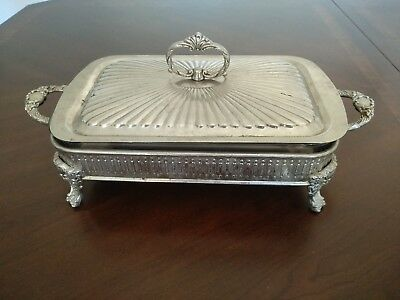 Vintage Silver Plated Server With Lid & Inner Glass Oven Dish