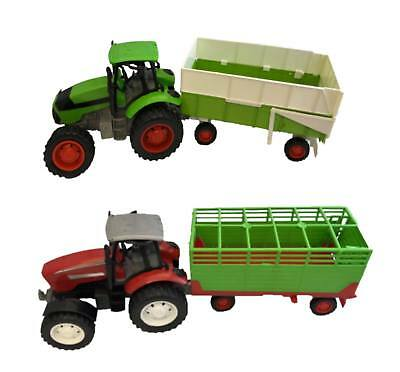 ENORMOUS FRICTION POWERED Farm Tractor & Trailer Toy Play Set Yard RED OR GREEN