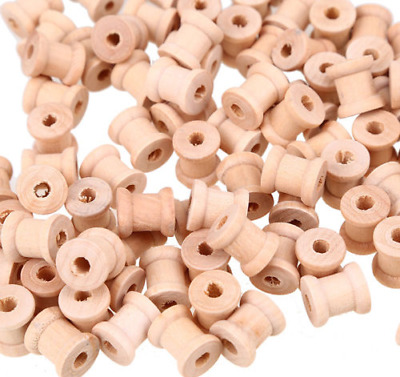 Wooden Spools Bobbins Empty Plain Ribbon Reels SewingThreading Crafts Pack of 25