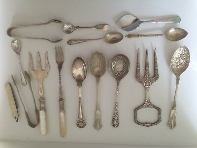Job Lot Of Epns Spoons Forks And Tongs