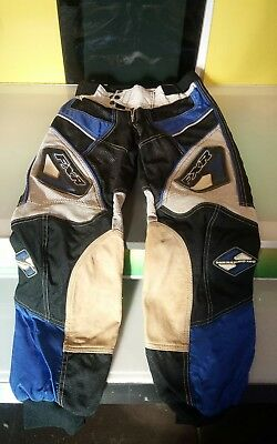 FXR Racing motorcycle Pants white blue black beige good cond men's size 28 waist