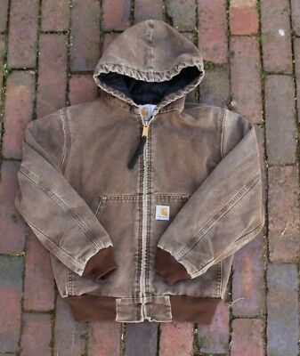 KIDS Carhartt Lined Canvas Hooded Workwear Chore Jacket Faded Brown size Medium