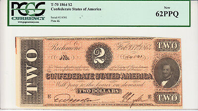 Super Looking 1864 $2.00 Confederate States Of America - New 62 Ppq -Pcgs