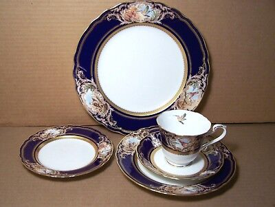 Noritake FOXBORO 5 pc place setting COBALT gold and birds A